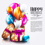 Birthday card with open gift box, balloons and. Magic light fireworks. Vector Royalty Free Stock Image