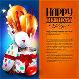 Birthday card with open gift box, balloons and. Magic light fireworks. Vector Stock Photos