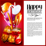 Birthday card with open gift box, balloons and Stock Photo