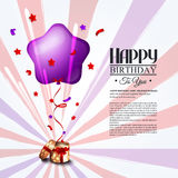 Birthday card with open gift box, balloons and Stock Image