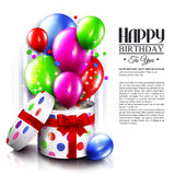 Birthday card with open gift box, balloons and. Magic lights. Vector Royalty Free Stock Photos