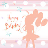 Birthday Card. In pastel colors with a girl stock illustration