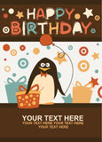 Birthday card with a penguin Stock Photography