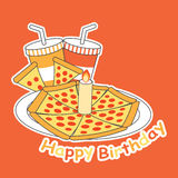 Birthday card with Pizza on the plate and soft drinks Stock Image