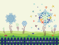 Birthday card with planes and cogs Royalty Free Stock Image