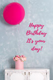 Birthday card. Postcard with words It is your day. One big pink balloon and flower box. Stock Images
