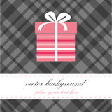 Birthday card with present box Royalty Free Stock Photography