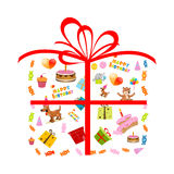Birthday card with presents royalty free illustration
