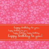 Birthday card with retro flower background Stock Images