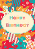 Birthday card with retro pattern. Royalty Free Stock Photography