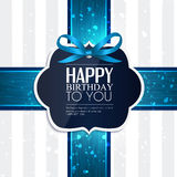 Birthday card with ribbon and birthday text Royalty Free Stock Image