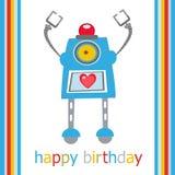 Birthday card with robot Stock Photos