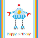 Birthday card with robot Stock Photos