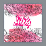 Birthday card with roses Royalty Free Stock Image