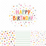 Birthday card and seamless patterns set Stock Images