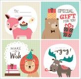 Birthday card. Set of greeting cards with cute cartoon animals Stock Photos