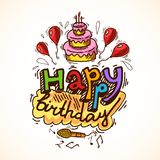 Birthday card sketch Stock Photos