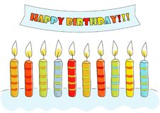 Birthday card. Sketch postcard Birthday with cake, candles and ribbon. Vector illustration. Birthday card. Sketch postcard Birthday with cake, candles and Royalty Free Stock Photo