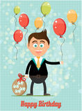 Birthday card with smiling, happy, young, standing Royalty Free Stock Photo