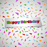 Birthday card with sticker and colored shards Royalty Free Stock Photo