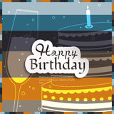Birthday card on stripes colorful background. Royalty Free Stock Photo
