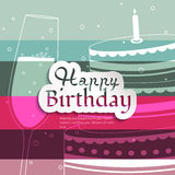 Birthday card on stripes colorful background. Stock Photo