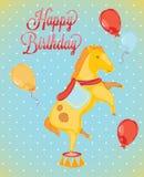Birthday card-style circus horses. Birthday card-style circus with horses in vintage Royalty Free Stock Photography
