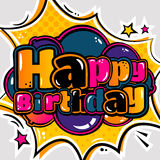 Birthday card in style comic book and balloons. Vector. Stock Photography