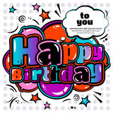 Birthday card in style comic book, speech bubble and balloons. Vector. Royalty Free Stock Photo