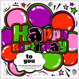Birthday card in style comic book, speech bubble and balloons. Vector. Stock Photo