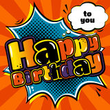 Birthday card in style comic book and speech bubble. Vector. Stock Photography