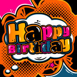 Birthday card in style comic book and speech bubble. Vector. Stock Photo