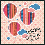 Birthday card in the style of cutouts with balloons and clouds on retro pattern background. Vector. Stock Photo