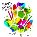 Birthday card in the style of cutouts with balloons on colorful flowers background. Vector. Birthday card in the style of cutouts with balloons on colorful Stock Images