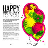 Birthday card in the style of cutouts with balloons on colorful flowers background. Vector. Birthday card in the style of cutouts with balloons on colorful Royalty Free Stock Photography
