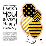 Birthday card in the style of cutouts with balloons on golden glitter background. Vector. Royalty Free Stock Images