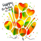 Birthday card in the style of cutouts with colorful balloons on white background. Vector. Royalty Free Stock Photography