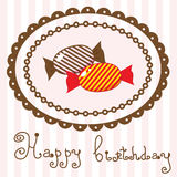 Birthday card with sweet candy. An excellent illustration for the book, wall-paper, packaging, textiles, paintings, paper, design space Royalty Free Stock Photography