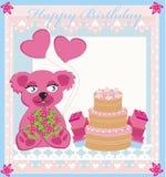 Birthday card, sweet teddy bear holding heart balloons. Illustration Stock Photo