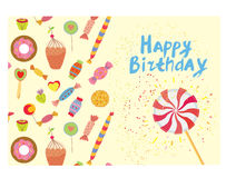 Birthday card with sweets - funny design Royalty Free Stock Images
