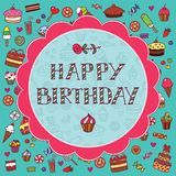 Birthday card with sweets Stock Photos