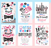 Birthday card, symbols and illustrations. Children`s Holiday cards to print Royalty Free Stock Photo