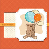 Birthday card with teddy bear and balloons Royalty Free Stock Photos
