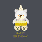 Birthday Card with Teddy Bear. Elegant Happy Birthday greeting card with a cute teddy bear, a birthday cake with candles. Eps file available vector illustration