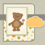 Birthday card with teddy bear and flower Royalty Free Stock Photo