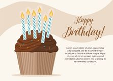 Birthday cardtemplate Сupcake with candle on light background Birthday card. Vector illustration Royalty Free Stock Images