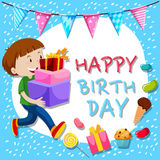 Birthday card template with boy and presents stock illustration
