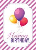 Birthday card template. Colorful and festive birthday card design Stock Photos