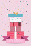 Birthday card template. Colorful and festive birthday card design Royalty Free Stock Image