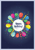 Birthday card template. Colorful and festive birthday card design Stock Photography